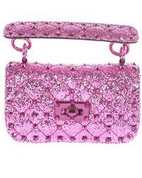 Valentino Garavani Mini Rockstud Glitter Bag - Purple