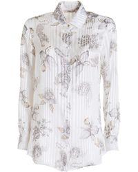Roberto Cavalli Diamond Brooches Print Silk Shirt - White