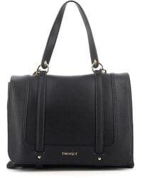 Twin Set Faux Leather Shoulder Bag - Black
