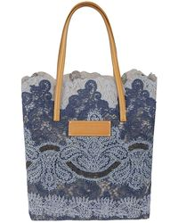 Ermanno Scervino Seeds Of Love Lace Tote - Blue