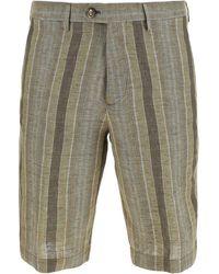 Etro Striped Cotton Bermuda Shorts - Natural