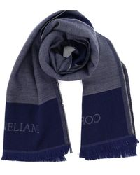 Corneliani Wool-silk Blend Scarf - Blue