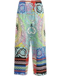 Versace Baroque Printed Trousers - Blue