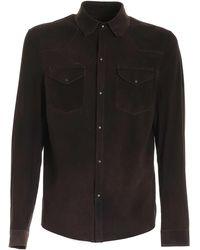 Salvatore Santoro Suede Shirt Jacket - Brown