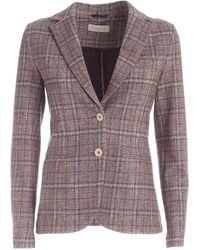 Circolo 1901 Checked Pattern Single-breasted Jacket - Brown