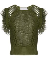 Genny Drilled Knit Top - Green