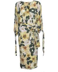 Dolce & Gabbana Floral Print Midi Dress - Yellow