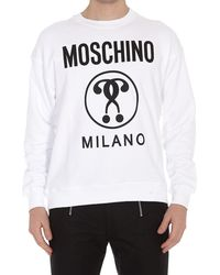 Moschino Felpa Double Question Mark - Bianco