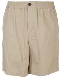 AMI Cotton Bermuda Shorts - Natural