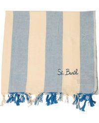 Mc2 Saint Barth Logo Striped Beach Towel - Blue