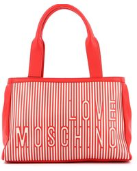 Love Moschino - Striped Faux Leather And Canvas Tote - Lyst