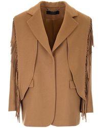 FEDERICA TOSI Fringed Wool Jacket - Natural