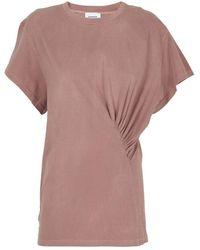 Dondup Ruffled Cotton Crewneck T-shirt - Brown