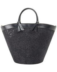 Ermanno Scervino Leather Handle Lace Tote - Black