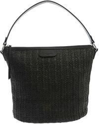 Lancaster Raffia Effect Handbag - Black
