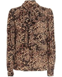 Patrizia Pepe Animal Print Crêpe Viscose Blouse - Natural