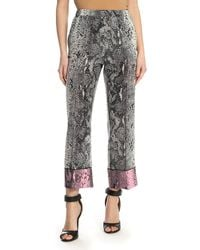 N°21 Snakeskin Effect Cropped Pants - Gray