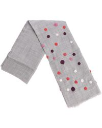 Altea - Gray Scarf With Multicolor Polka Dots - Lyst