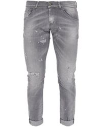 Dondup Straight-leg Ripped Faded Jeans - Grey