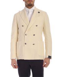 Lardini Linen Cotton And Silk Semi-lined Jacket - Natural
