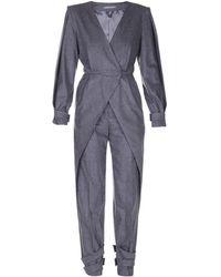 Alberta Ferretti Mélange Flannel Wool Jumpsuit - Grey