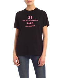 Karl Lagerfeld - T-Shirt Rue St-Guillaume Logo Nera - Lyst