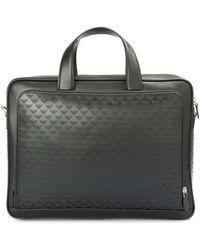 Emporio Armani All Over Embossed Logo Leather Briefcase - Black