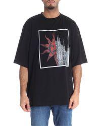 Fausto Puglisi T-shirt nera stampa sole e duomo