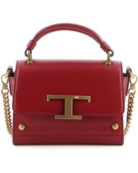Tod's T Buckle Mini Leather Bag - Red