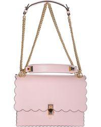 079c4d72b0 Fendi Kan I Floral-embroidered Leather Shoulder Bag in Pink - Lyst