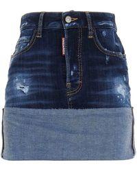 DSquared² Turn-up Denim Skirt - Blue