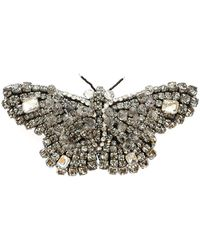Rochas Butterfly Brooch In Anthracite And Silver Colour - Metallic