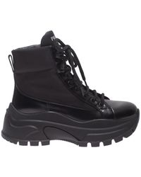 Prada - Ankle Boots In Black Leather And Nylon - Lyst