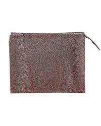 Etro Paisley Print Multicolor Clutch Bag - Brown