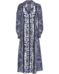 Alberta Ferretti Floral Tie-dye Shirt Dress - Blue