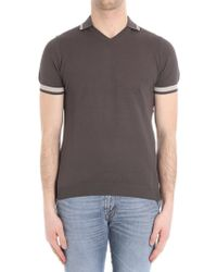 Paolo Pecora - Brown Knitted Polo With Beige Edges - Lyst