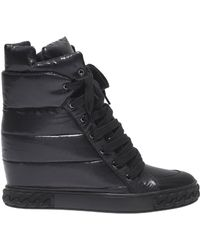 Casadei - Black Trainer With Inner Wedge - Lyst