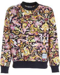 Versace Jeans Couture Felpa Nera Con Stampa Multicolor - Nero