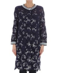 Ermanno Scervino - Blue Lace Overcoat With White Embroidery - Lyst