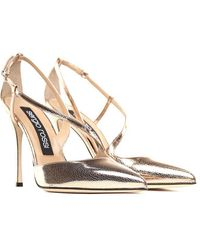 Sergio Rossi - Godiva Cracked-lamè Leather Court Shoes - Lyst