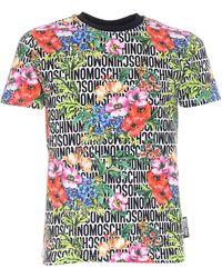 Moschino T-Shirt Monogram Con Stampa Floreale - Multicolore