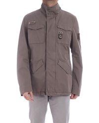 Herno Field Jacket Marrone Con Patch