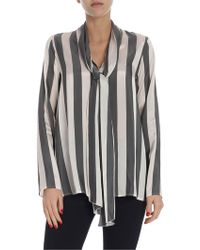 Her Shirt Striped Tie-neck Blouse - Grey
