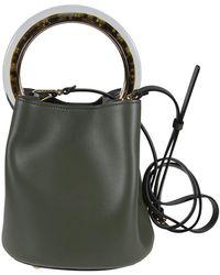 Marni Pannier Green Leather Bucket Bag