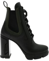 Prada - Ankle Boots In Black Leather With Logo - Lyst