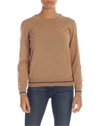 Fay Lamé Stripe Pullover - Natural