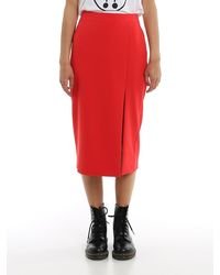 Moschino Front Slit Midi Skirt - Red
