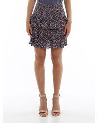 Michael Kors Flounced Floral Mini Skirt - Blue