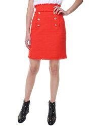 MSGM - Red Tweed Skirt - Lyst