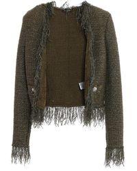 Balmain Tweed Cropped Jacket - Green